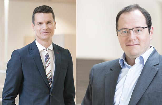 UPM:n media- ja yhteiskuntasuhdejohtaja Stefan Sundman ja vastuullisuusjohtaja Sami Lundgren.
