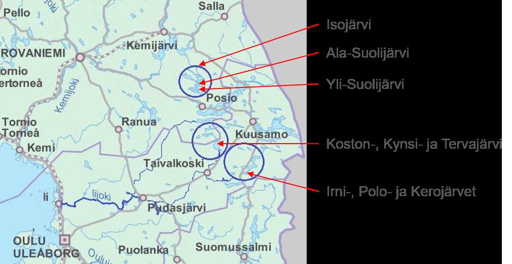 Kartta: PVO-Vesivoiman pohjoisen järvisäännöstelyt